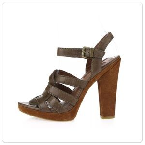 7 for all mankind, Brown Leather Platform Heels!